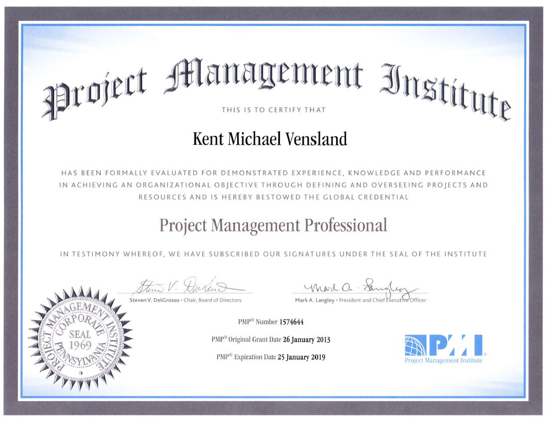 professional documents kent michael vensland With pmp certification documents